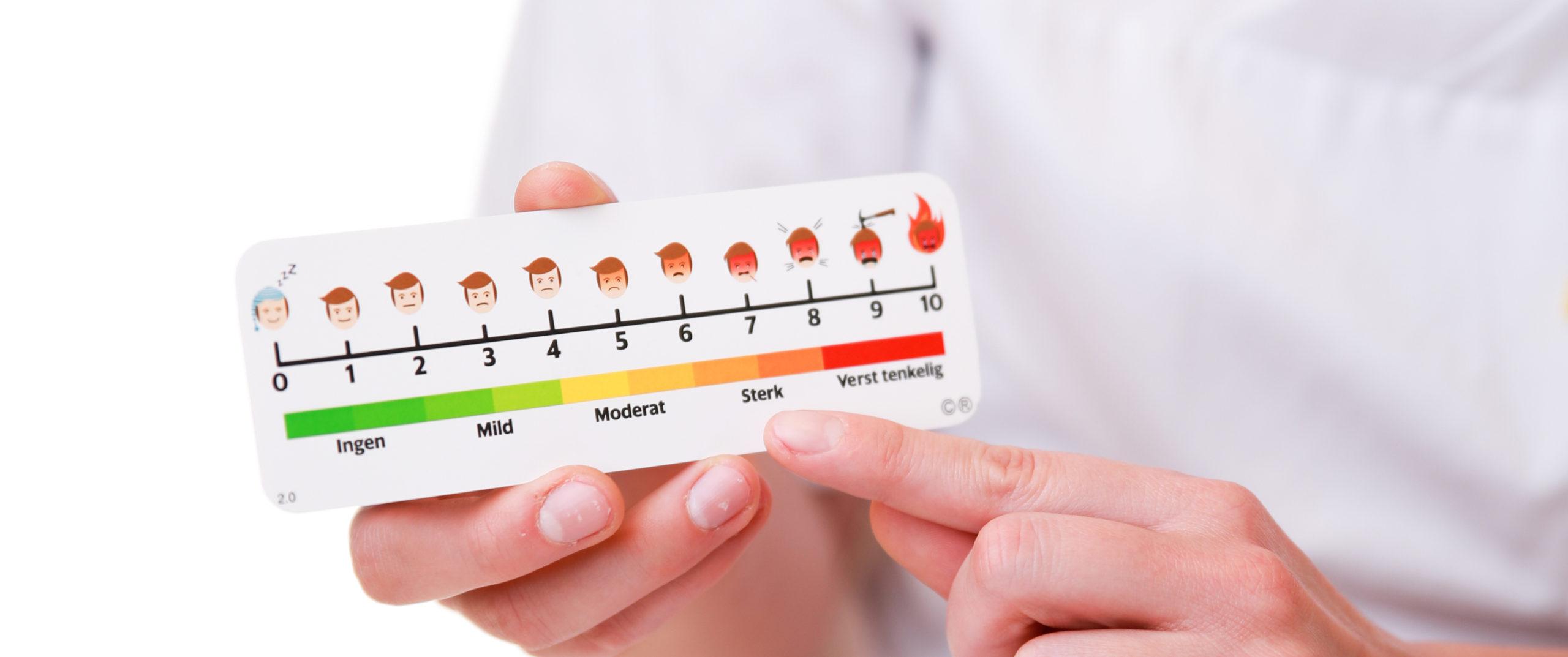 """Bilde av medisinsk referansekort """"Den ultimate smerteskala"""", fra Cingulum"""