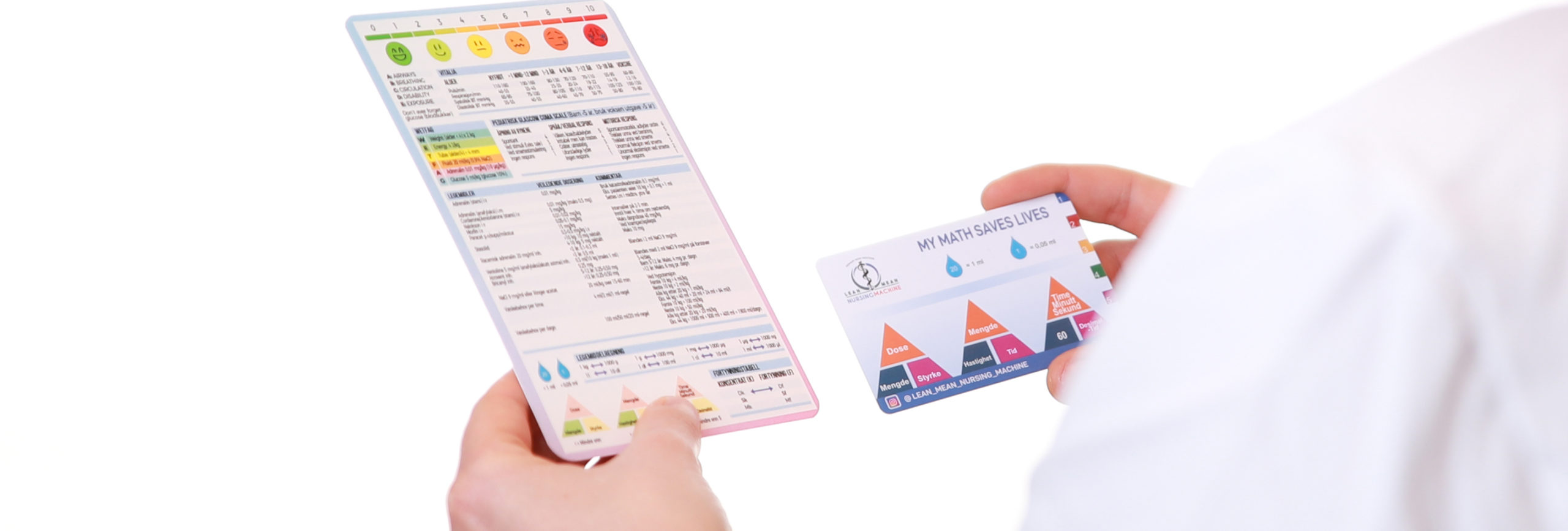 Bilde av medisinske referansekort og legemiddelsregningskort fra Cingulum AS